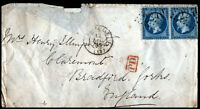 France 1865 Cover 2 x 20c Emperor Napoléon III Marseille to Bradford Red PD
