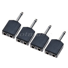 4* Mono  1/4' Y Splitter Audio Adapter Splitter 6.35 Male Jack to 2Female 6.35