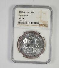 1990 AUSTRALIAN KOOKABURRA 1 oz SILVER $5 COIN NGC MS-69 *689