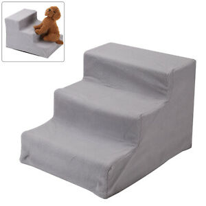 3 Steps Pet Dog Ladder Soft Stairs Puppy Washable Cover Ramp Folding Doggy UK