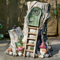 Vintage Resin Garden Lawn Patio Secret Fairy Pixie Tree House Statue Ornament A