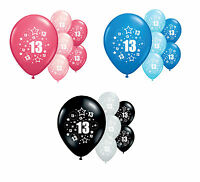 """10 x 13th BIRTHDAY 12"""" HELIUM QUALITY PARTY BALLOONS PINK / BLUE/ SILVER (PA)"""