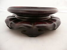 Rare antique CHINOIS en bois sculpté vase bol JADE socle base Display Rosewood 3