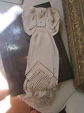 ancien noeud de bapteme satin ou soie franges
