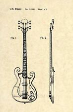 "Official Epiphone ""Scroll"" Bass Guitar US Patent Art Print- Vintage Les Paul 233"
