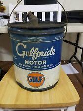 VINTAGE 5 GALLON GULF GULFPRIDE OIL CAN MOTOR OIL GAS STATION GARAGE ADVERTISING