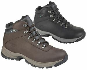 Mens Leather Hi Tec Waterproof Hiking Walking Trail Ankle Boots Shoes Size