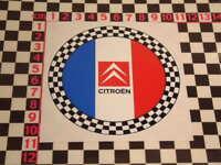 Citroen Round Checks Sticker - 2CV DS DS19 DS21 DS23 Ami 6 8 Arcadiane Dyane