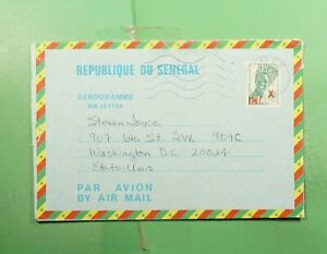 DR WHO 1984 SENEGAL OVPT AEROGRAMME THIES TO USA  g18580