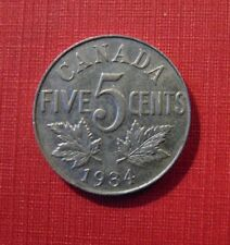 CANADA 1934 FIVE 5 cent nickel CANADIAN coin King George V