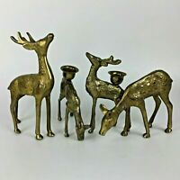 Vintage Set 4 Reindeer Deer Solid Brass Candle Holders Table Décor Gift