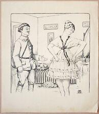 "Militaire Soldat Dessin signé ""J-B M"" v. 1910 Chasseur Alpin illustration"
