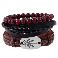 Charm Multilayer Men's Red Wooden Beads Handmade Weaved Leather Bangle Bracelet