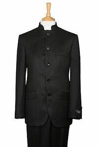 "BLACK NEHRU GRANDAD BEATLES COLLAR WEDDING DRESS SUIT SIZE SMALL  34"" CHEST"