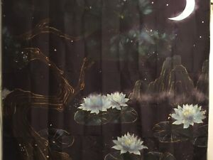 """NEW 60""""x52"""" Blue Moon Lotus Oil Painting Canvas Look Tapestry Wall Decor w/Clips"""