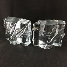 Pair Blenko Bamboo Ice Bookends Art Glass Mid Century Modern