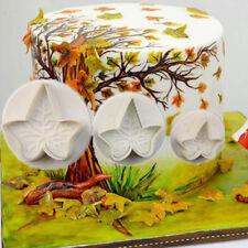 3pcs Maple Leaf Shape Fondant Icing Cake Decorating Tool Baking Mold Cutters NEW