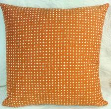 Modern Mid Century Contemporary Sq Pillow ORANGE WHITE STARS