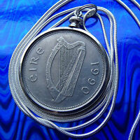 """1990 Irish Reindeer Celtic Large Coin Pendant 24"""" White Gold Filled Round Chain"""