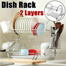 2Tier Large Capacity Dish Drainer Drying Rack Kitchen Storage Stainless Steel US