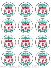 """LIverpool Edible Icing, Cup Cake Toppers 12 x 2"""""""
