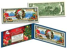 MERRY CHRISTMAS Keepsake Gift Colorized $2 Bill U.S. Legal Tender SANTA & SLED