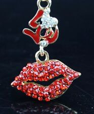 Betsey Johnson Necklace Lips Red Love Lips Sexy Crystals