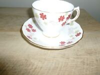 Royal Vale Bone China Cup & Saucer with Gold, Made in England - Free Shipping!