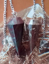 2 RARE HAND CARVED SOLID PETRIFIED WOOD CRYSTAL DOWSING PENDULUM WITH 2 POUCHES