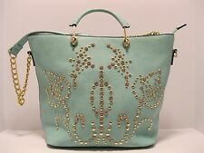 Purse Rhinestones Mint Green Gold Studs Square Shoulder or Hand Bag NWT L287