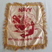 Vintage US Navy Satin Sweetheart Pillow Cover Great Lakes Naval Training Station