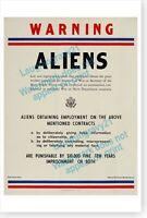 WWII Aeronautical Confidential Restricted War Navy Department Aliens War Poster
