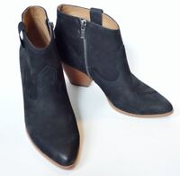 FRYE Reina #71739 black nubuck leather pointed toe WESTERN ankle BOOTS womens 9
