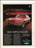 RED CHEVROLET CAMARO BERLINETTA Vintage 1981 Print Ad ~ High (MPG) Roller