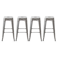 "Set of 4 Galvanized 24""Counter High Tolix-Style Metal Bar Stools Stackable As Is"