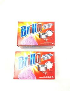 2 Packs of Brillo Steel Wool with Built in Detergent Soap Pads,Total 8 Pads