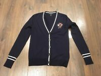 J. Crew Navy Blue Wool Button-Up Cardigan With Jewel Applique, Size XXS