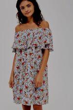 BNWT Topshop Blue Ditsy Floral Confetti Bardot Summer Sun Dress £38 - Size 8