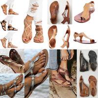 Women Flat Clip Toe Strappy Sandal Flip Flops Thong Slipper Gladiator Beach Size