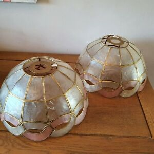 Two Vintage Retro Capiz Medium Shell Lightshade Mother Of Pearl Pink/Gold Dome