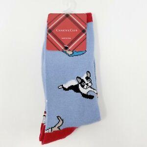 Dog Print Crew Socks Women's One Size Charter Club Blue Winter Holiday Novelty