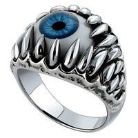 Vintage Halloween Red&Blue Evil Eye Eyeball Ring Punk Silver Novelty Finger Ring