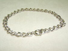 Sterling Silver Laser Cut Charm Bracelet!! NICE!   7 Inches Long  Well Made!