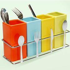 Spoon Rest Rack 4 Ceramic Square Organizer for Fork Spoon Chopstick Knife Holder