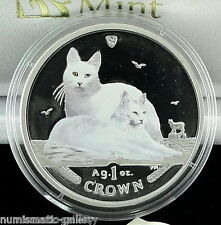 Isle Of Man 1 Crown 2011 Pf Silver Coloured = Turkish Angora Cat = Limited Ed.