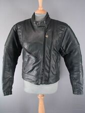 CLASSIC BUFFALO BLACK LEATHER BIKER JACKET WITH REMOVABLE BACK PROTECTOR SIZE 14