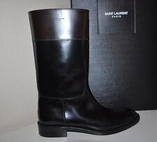 NIB $1,395+ YSL Yves Saint Laurent Cavaliere Black Mid Calf Riding Boot Sz 39.5