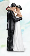 Cake topper sposini sposi si abbracciano capelli neri matrimonio statuina top