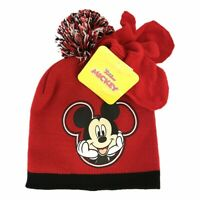 Disney Mickey Mouse Beanie Hat and Gloves Set | Kids Winter Hat and Gloves | Red