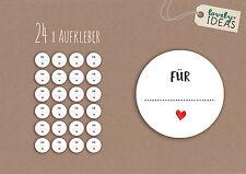 """24 x Geschenkaufkleber """"Für...."""" 40mm weiß Etiketten Aufkleber Sticker"""